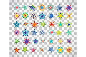 Colorful cartoon stars on transparent background