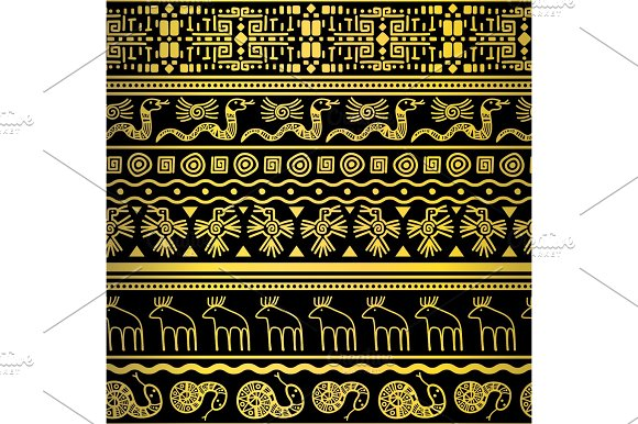 Golden Floral And Animals African Borders