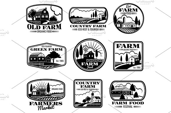 Vintage Farm Marketing Vector Logos And Labels Set