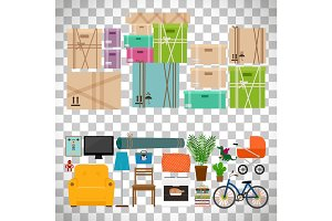 Furniture and boxes icons set