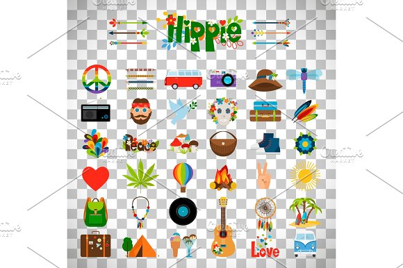Hippie Flat Icons On Transparent Background