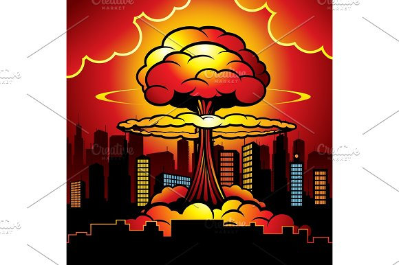 Burning City With Nuclear Explosion Of Atomic Bomb Cartoon Vector Illustration