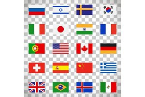 Flags icons on transparent background