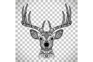 Horned deer head with floral ornament