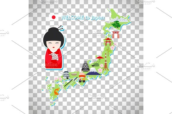 Japan Travel Map On Transparent Background