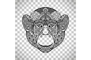 Monkey face with ethnic motifs