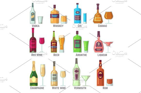 Alcoholic Drinks In Bottles And Glasses Flat Vector Icons Set