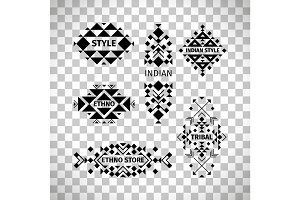 Tribal logo set on transparent background