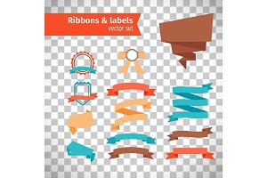 Ribbons and labels in modern style