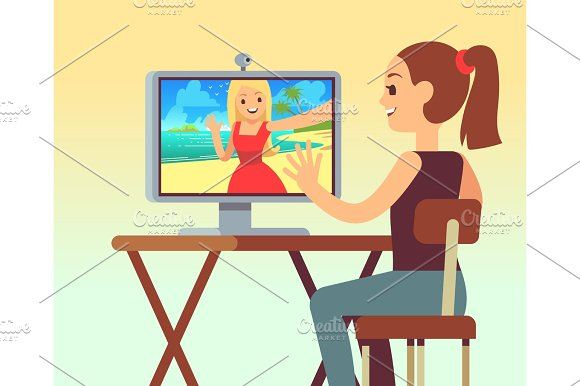 Video Chat Between Friends In Headset On Computer With Camera Online Chatting And Comunication Vector Concept