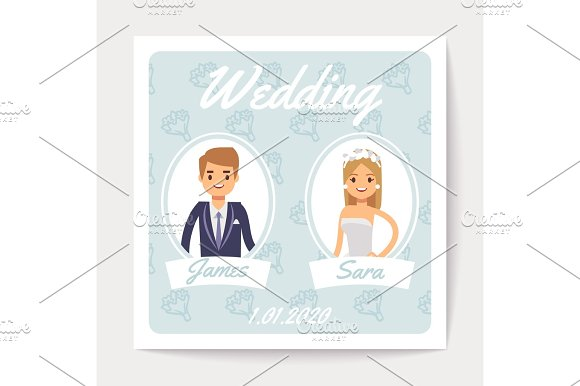 Wedding Invitation Vector Card With Happy Married Couple Cartoon Bride And Groom