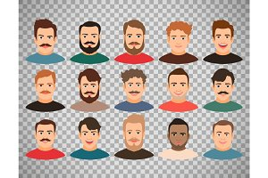 Man face avatars on transparent background