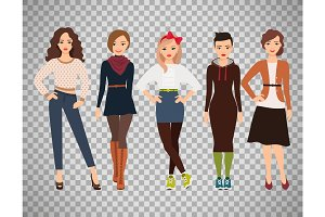 Cartoon teenage girls in everyday dress