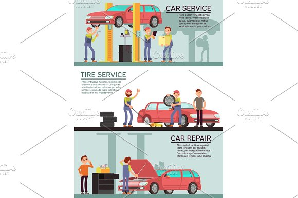 Car Services And Auto Garag Vector Marketing Banners With Cartoon Mechanic Workers