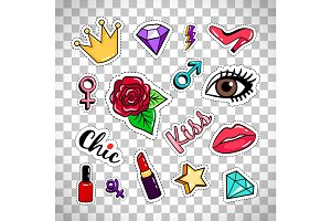 Fashion stickers on transparent background