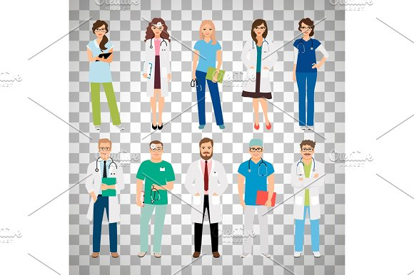 Medical Team Workers On Transparent Background