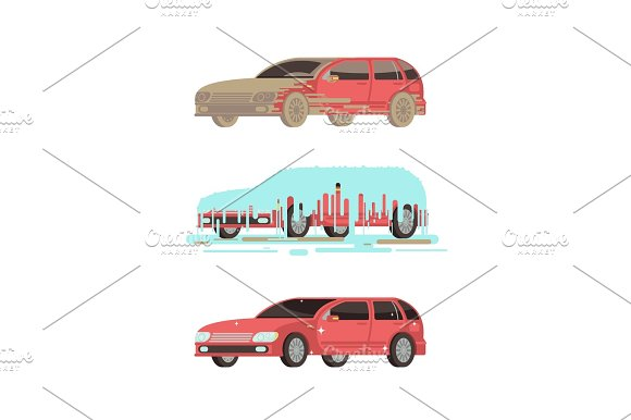 Dirty And Clean Shine Car Washing Stages Vector Set