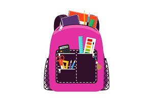 Children pink school bag pack