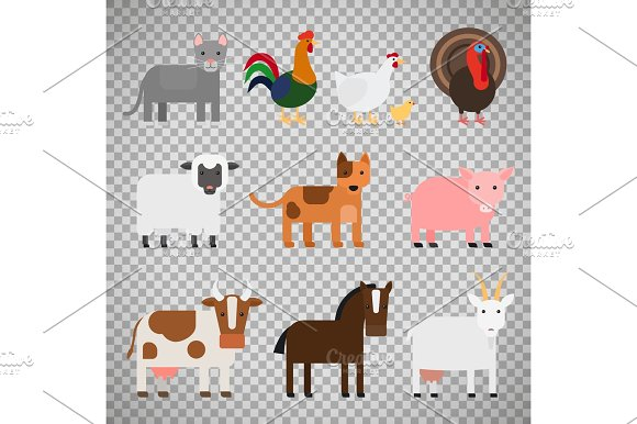 Farm Animals On Transparent Background