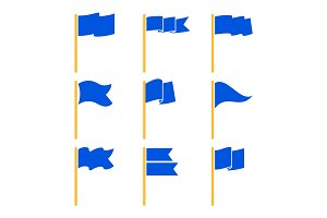 Markers or pointer blue flags set