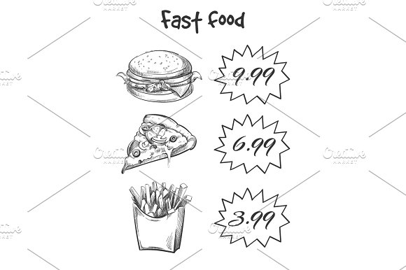 Hand Drawn Fast Food Menu Isolated On White Backdrop
