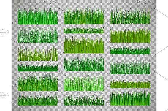 Grass Border Set On Transparent Background