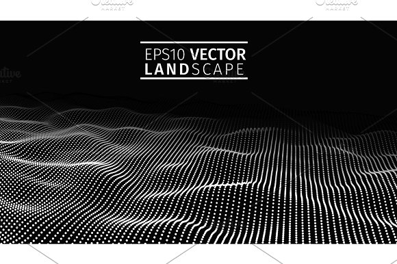 3D Glowing Abstract Digital Wave Particles Futuristic Vector Illustration HUD Element Technology Concept Abstract Background