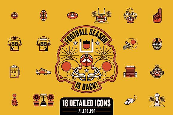Football Season Is Back Icon Set