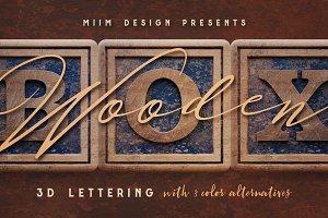Vintage Wooden Box - 3D Lettering