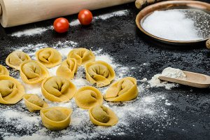 Homemade pasta tortellini stuffed