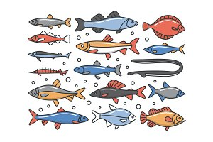 Fish, Outline Icon Set