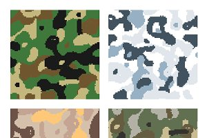 Pixelated camouflage patterns