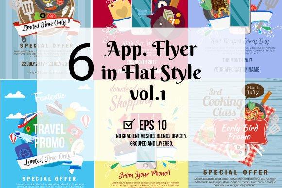 6 Application Flyer In Flat Style