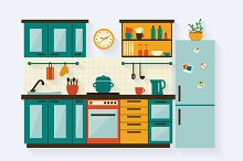 Kitchen Set With Icons