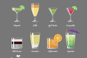 Alcoholic cocktails illustration