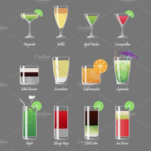 Alcoholic Cocktails Illustration