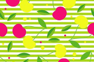 Seamless pattern with cherries.
