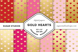 Gold Foil Hearts Digital Backgrounds
