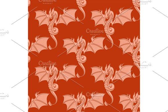 Chinese Dragon Silhouettes Tattoo Mythology Seamless Pattern Tail Monster Magic Icon Asian Animal Art Vector Illustration