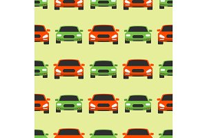 Vector seamless pattern luxury car transportation detailed auto business transport design pickup