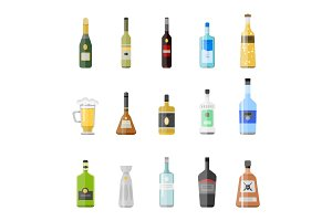 Alcohol drinks beverages cocktail appetizer bottle lager container drunk different glasses vector illustration.