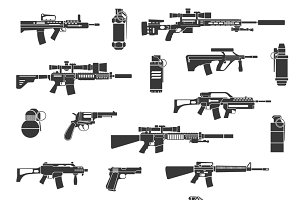 Weapon icons and military signs