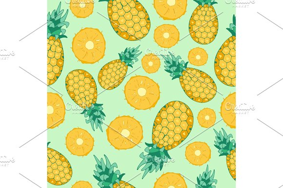Cartoon Fresh Pineapple Fruits In Flat Style Seamless Pattern Food Summer Design Vector Illustration