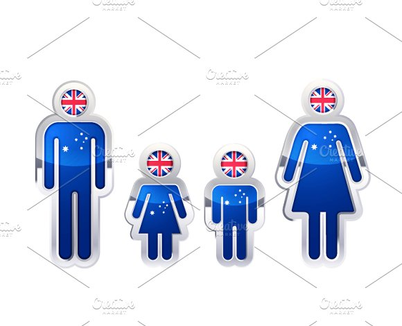 People Icons With Australian Flag
