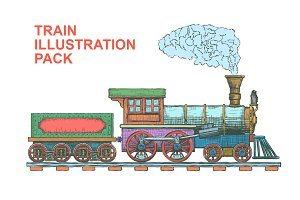 Vintage Steam Train Illustrations