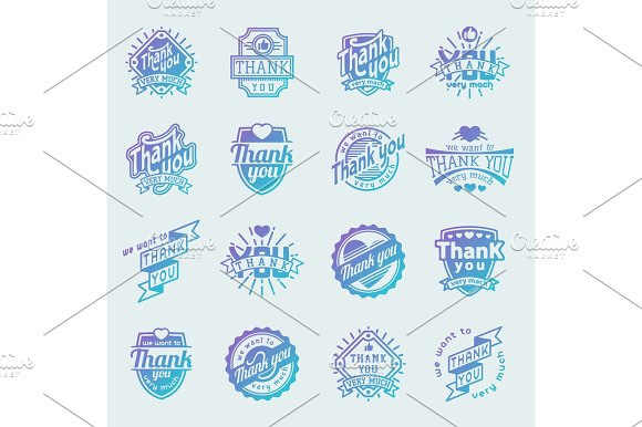 Thank You Text Lettering Vector Logo Badge