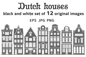 Set of 12 shapes Amsterdam houses