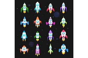 Rocket vector icons set space ship transport collection