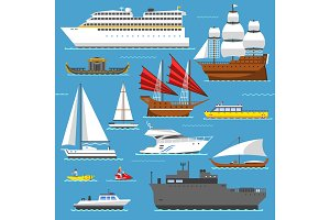 Super set of water ships boats transport vector illustration