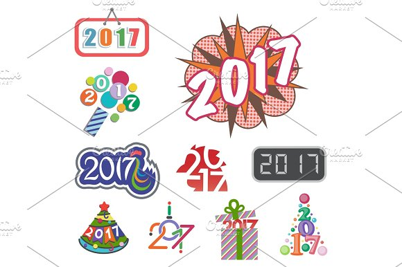 Happy New Year 2017 Text Design Vector Creative Graphic Celebration Greeting Party Date Illustration